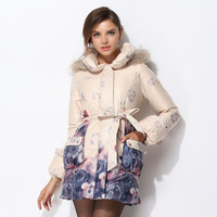 Autumn fashion slim ol formal fancy medium-long white duck down coat 7053