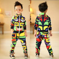children's autumn clothing male child cardigan harem pants set child casual set boy set