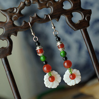 DIY Earrings Original Brand ethnic wind Shell Flower Agate Beads Earrings Long Dangle Earrings for Women Free Shipping E0005