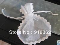 New Factory Design!Free Shipping(100pcs/pcs)Good Quality,European Style,White Wedding Favor Organza Bag,w/Trim Deco.Ribbon