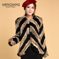 2013 Autumn Winter Women's Natural Knitted Rabbit Fur Jacket Female Warm Coat Outerwear VK2200