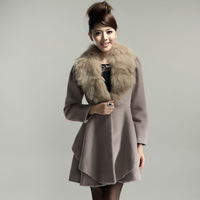 2013 autumn and winter thickening little medium-long cashmere woolen outerwear overcoat female