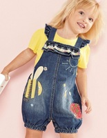 summer clothing for children, NEXT cartoon animals denim overalls + yellow short-sleeved t-shirt, fashion baby clothing set