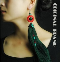 Valentine's Day Gift Vintage Original DIY Carven earrings Single Piece Long Tassel Statement Turquoise Earrings for Women E0007