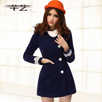 New arrival 2013 autumn and winter clothing slim slanting unique collar flannel overcoat