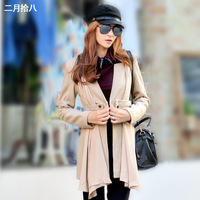 Women's clothes autumn and winter women's woolen wool coat medium-long a collarless woolen outerwear