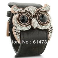 Leather Crystal Owl Cuff Bracelet Fashion PU Leather Bangle Pageant Bracelet Owl Bracelet FREE SHIPPING