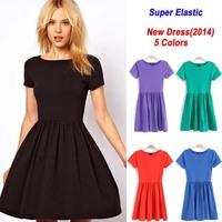 Elegant Women Fashion Dress Colorful Short sleeve Slim Women's Brand Dresses 5Colors Ladies Pleated dress