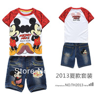 Free shipping Summer Boy's 2pieces suits sets Cartoon Mickey short sleeved t shirts + jeans short suits sets 100% cotton