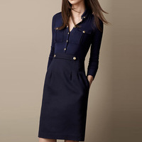 2014 Spring Fashion Women British Style Long Sleeve Military Knee-length Brief Dress Casual Dresses Plus Size 14AR