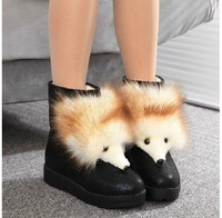 2013 Winter new Korean cotton boots snow boots flat head fox fur boots women's boots in the tube