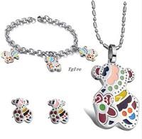 1set Fashion bear jewelry set  Bracelet+Earring studs+ pendant necklace 316 stainless Steel Jewelry for Women birthday/XMAS