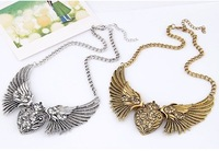 Min order $10(Mix order)Retro wings of love temperament short necklace