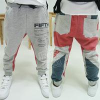 2014 autumn and winter color block decoration boys clothing baby child fleece long trousers casual pants kz-1209  sxl