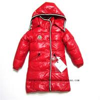 2013 child star style children's clothing classic medium-long down coat bright child down