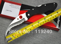 "Free shipping Spyderco C12GS Civilian Folding Knife 4-1/8"" VG10 Serrated Blade, G10 Handles Outdoor Knife Camping Knife"