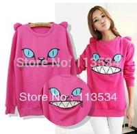 2013 autumn / winter female zipper elegant cartoon fleece sweatshirt women's fashion outerwear 1pcs free shipping