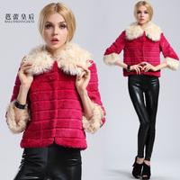 2013 fur coat female rabbit fur wool female medium-long slim