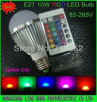 Wholesale and retail 1pcs/lot RGB LED Lamp E27 9W 10W led Bulb light & 16 Color RGB Remote Control  85-265V free shipping
