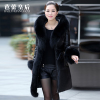 Leather clothing 2013 fox fur hat tie genuine leather down coat female sheepskin genuine leather female clothing