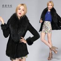 Ballet queen 2013 raccoon fur medium-long genuine leather fur one piece fur coat