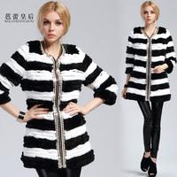 2013 women's fur coat medium-long rabbit fur fox fur overcoat