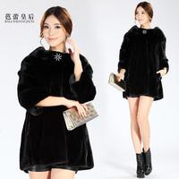 Ballet queen 2013 Women mink stand collar fur coat medium-long fur overcoat