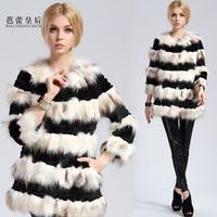 Ballet queen 2013 fur coat stripe color block all-match raccoon fur rabbit fur coat
