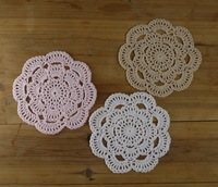 "Crocheted Doilies Placemats 6 "" Cup Pad Mats Handmade Crochet pattern-- Physical picture 100%"