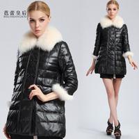 Ballet queen sheepskin genuine leather clothing down coat fox fur down coat female 2013 medium-long
