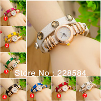2013new fashion wrap around bracelet watch,Gold Bracelet  crystal imitation leather chain women's quartz wrist watches wholesale