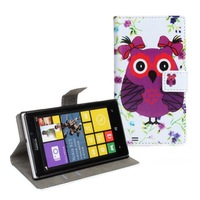 Cute Cartoon Owl Flip Cover Leather Wallet Stand Gift Case With Card Slots For Nokia Lumia 925 Free Shipping 1pcs