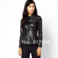 Drop shipping Black  PU elastic slim turn-down collar long-sleeve shirt female 6 size DI110