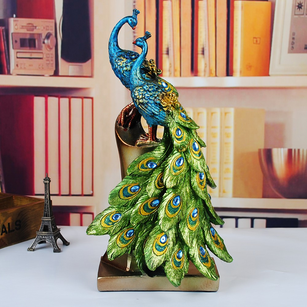 wholesale decoration art gift craft Fashion fashion home resin peacock modern desktop accessories decoration wedding gift(China (Mainland))