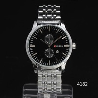 2014 men luxury watch Stainless thin CASE Date Dial multi sub-dials deco Men Quartz Wristwatch stainless steel Band Freeshipping