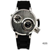 2014 New Fashion Gusseisen Like Case Double Movements 2 Dials Men Sports Quartz Wristwatch Rubber Band Military Watch free ship