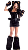 New 2013 Fall Sexy Halloween Panda Bear Costume,Corset and Skirt,Women Wolf  Fur Cosplay,Black Brown Bear Wear To Romper,Hot