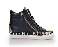 2014 New Giuseppe High Shoes For Women  Fashion Men GZ Double Zipper Sneakers Metal Sequins Couple Casual Shoes Free Shipping
