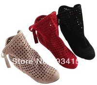Fashion women's cut-outs Boots , Spring and Summer short Boots , Inside High -heeled Shoes ,Free Shipping ,Wholesale ,J041