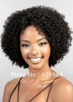Afro kinky curly lace wig, color #1, #1b #2 or #4 Brazilian remy full/ front lace wig free shipping, baby hair bleached knots