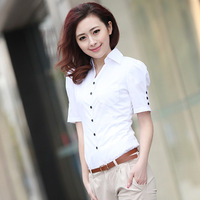 Ol women's short sleeve shirt cotton shirt formal slim solid color top clothing for women crochet camisa  2014 new