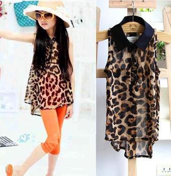 Girls leopard shirt blouse children's clothing leopard print lapel