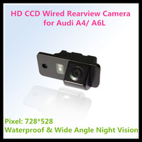Russian HD CCD car rear view camera for Audi A4/ A6L with 728*582 pixel 170 degree night vision waterproof  1090k 520 line