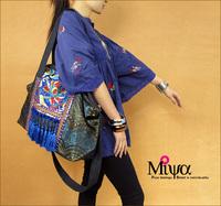 Original design chinese style female bags tapestry jacquard tassel shoulder bag messenger bag denim bag blue heart