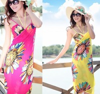 Free Shipping New Fashion Summer Women's Dresses Show Thin Print Sexy Backless Beach Dress The Dresses Shawl  5Colors  D0268