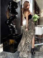 zp007  2014 stacked lotus leaf wrapped chest leopard Chiffon Dressdress one-piece dress
