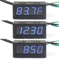 "0.56"" Fahrenheit Scale Car Digital Temp Clock Volt Meter 3in1 LED Auto Gauge Thermometer With 18B20 Probe"