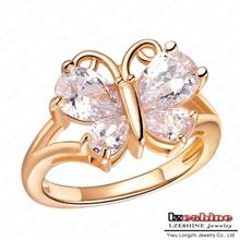 Trendy Cubic Zircon borboleta anel Real 18 K banhado a ouro CZ pedra amizade anel WX-RI0096(China (Mainland))