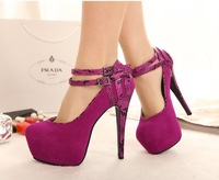 2014 New spring pumps for women fashion buckle platform ladies ultra high heels women's stiletto high heel shoes