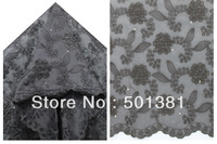2014 African French Lace,  Voile with Cord and Stones, Wholesale, 2638 BLACK COLOR